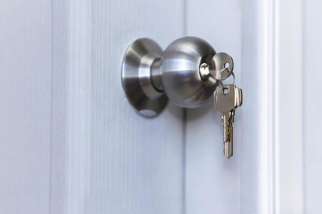 Doorknob with key inserted